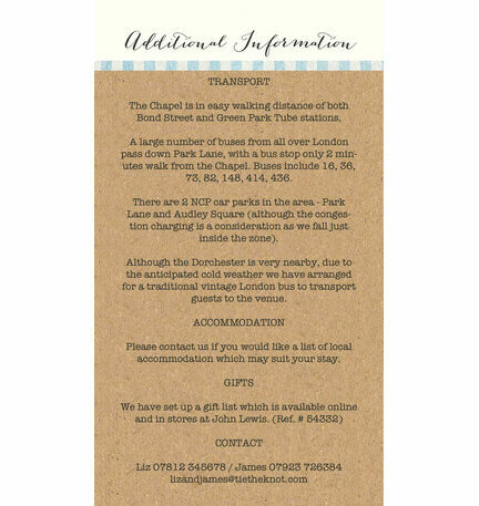Nautical Knot Guest Information Card