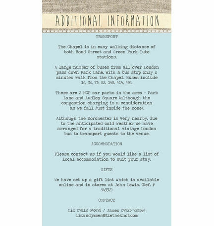 Rustic Botanical Guest Information Card