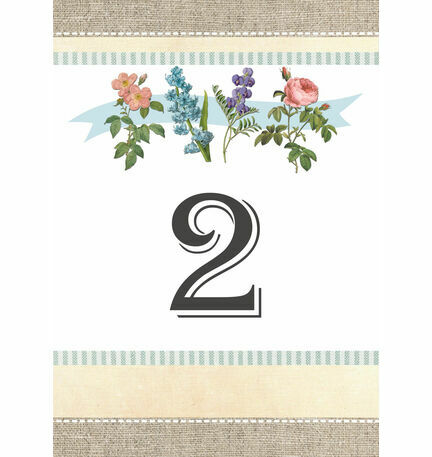 Rustic Botanical Table Number