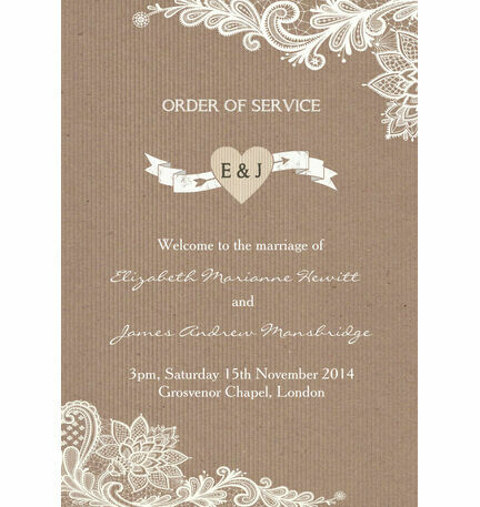 Rustic Lace Order of Service Cover