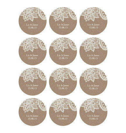 Rustic Lace Stickers - Sheet of 12