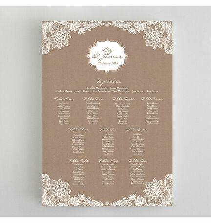 Rustic Lace Wedding Seating Plan