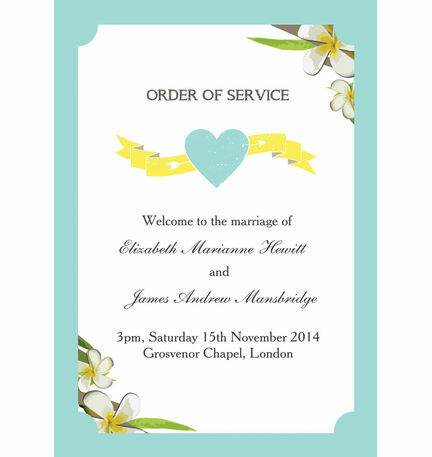 Tropical Beach Order of Service Cover