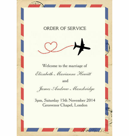 Vintage Airmail Order of Service Cover