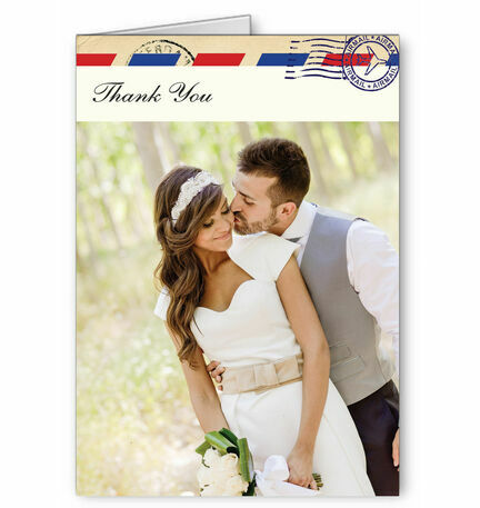 Vintage Airmail Thank You Card