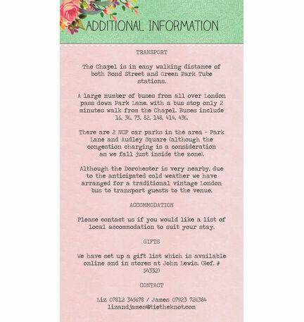 Vintage Trinkets Guest Information Card