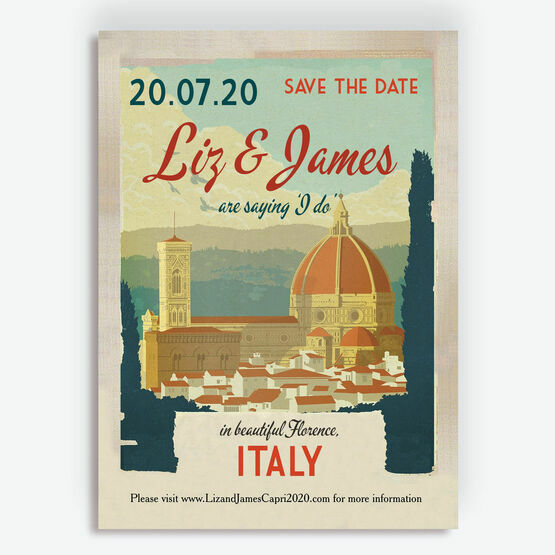 Vintage Florence Italy Wedding Save the Date Card