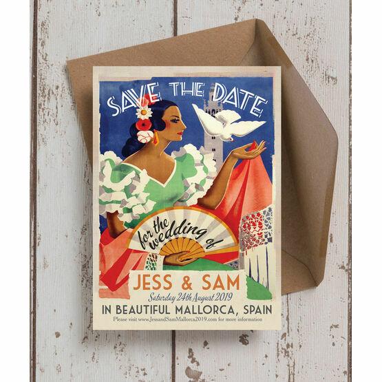 Vintage Spain Wedding Save the Date Card