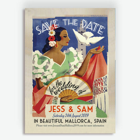 Vintage Spain Wedding Save the Date Card
