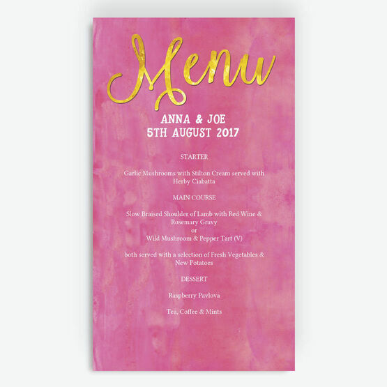 Pink & Gold Watercolour Menu