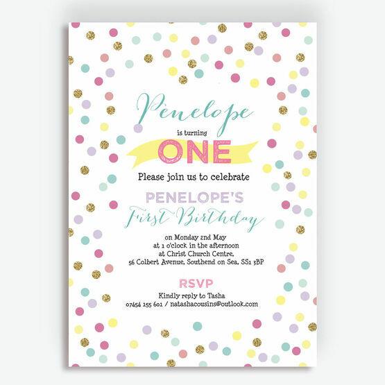 Pastel Confetti Children's Birthday Party Invitation