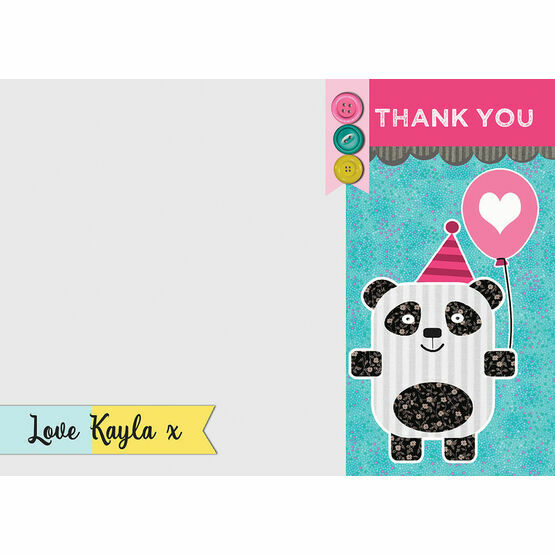 Panda Party Personalised Thank You Card