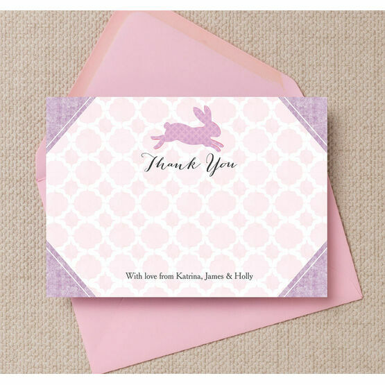 Pastel Bunny Personalised Thank You Card