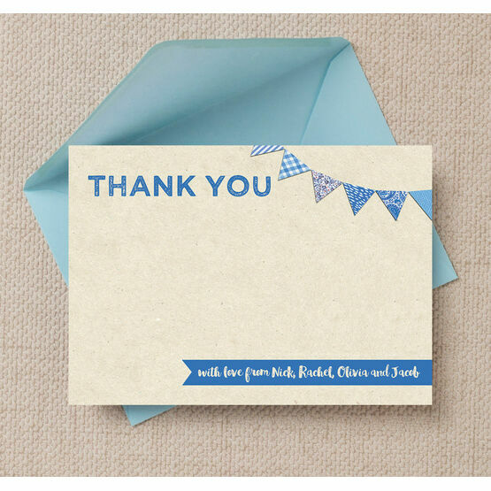 Vintage Blue Bunting Personalised Thank You Card