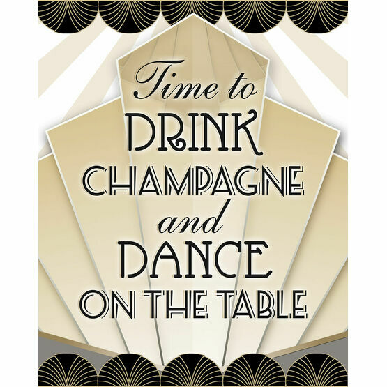 Time to Drink Champagne' Art Deco Wedding Poster