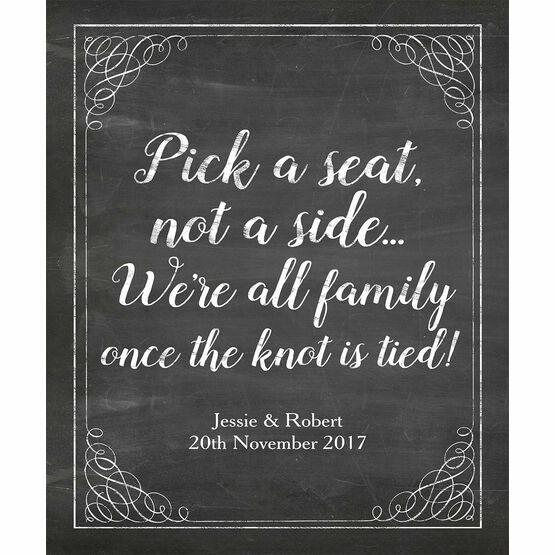 Pick a Seat not a Side' Chalkboard Wedding Poster