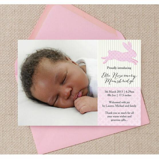 Pastel Bunny Birth Announcement Card