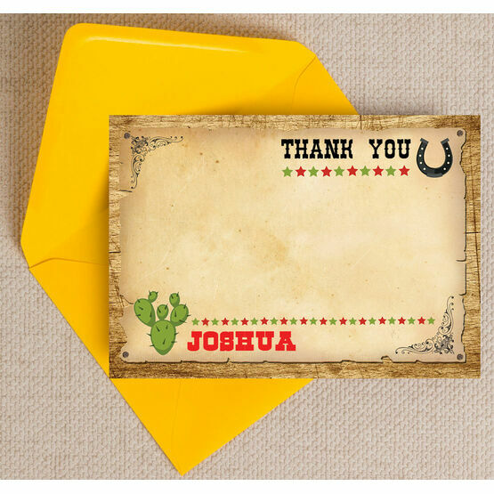 Cowboy Wild West Themed Thank You Card