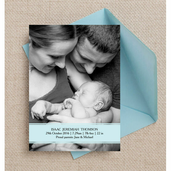 Blue Banner Personalised Birth Announcement Photo Card