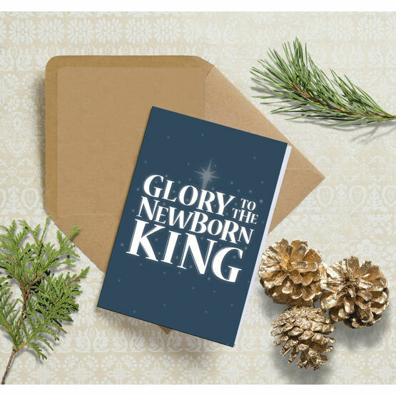 Glory to the King Typography Christmas Card