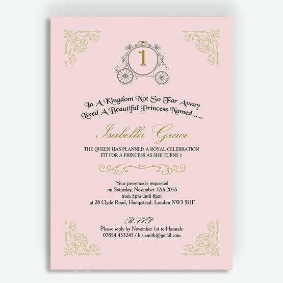 Enchanted Pink & Gold Princess Party Invitation