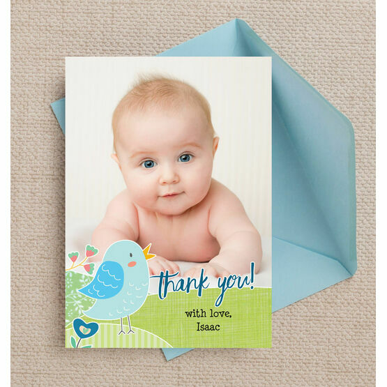 Baby Bird Personalised Thank You Photo Card - Blue