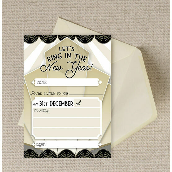 Pack of 10 New Year's Eve Art Deco 1920s Style Invitations