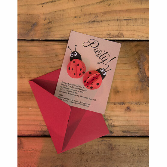 Handmade 3D Ladybird Printable Party Invitation From 080 Each