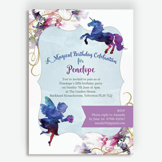 Watercolour Fairies & Unicorns Party Invitation