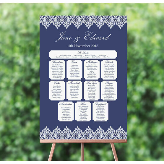 Navy Blue & White Vintage Style Wedding Seating Plan