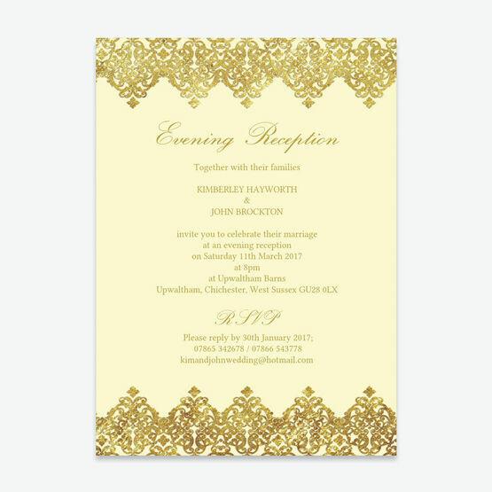Elegant Vintage Cream & Gold Evening Reception Invitation