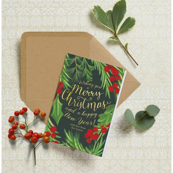 Hand Painted Leaves & Berries Personalised Christmas Card