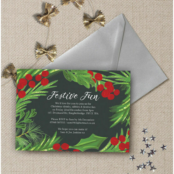 Hand Painted Leaves & Berries Christmas Party Invitation