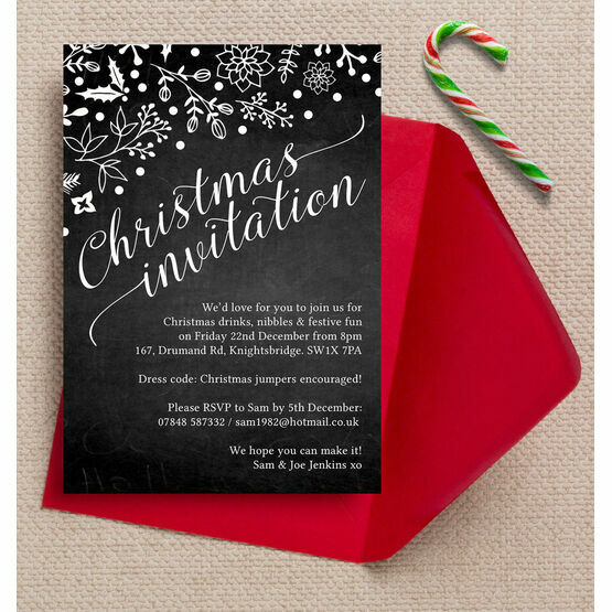Chalkboard Style Personalised Christmas Party Invitation