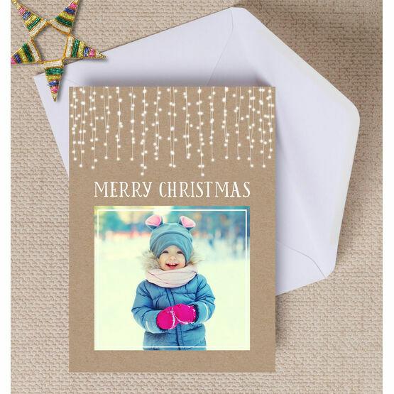 Rustic Kraft Fairy Lights Photo Christmas Card