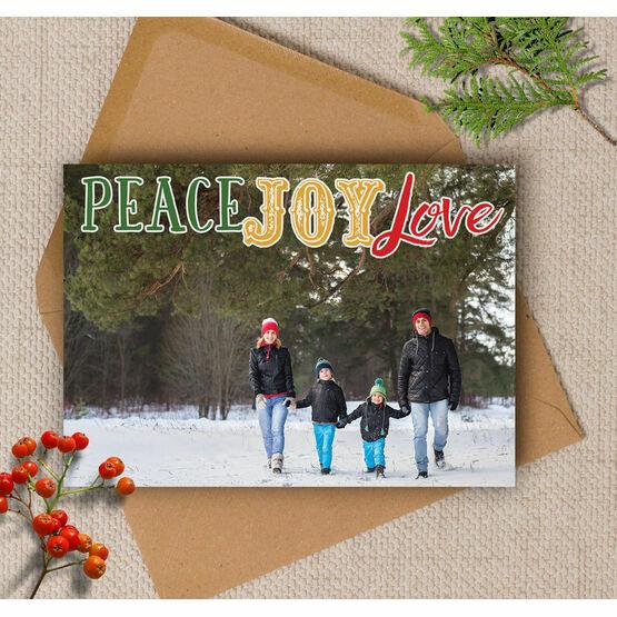 Peace Joy Love Photo Christmas Card
