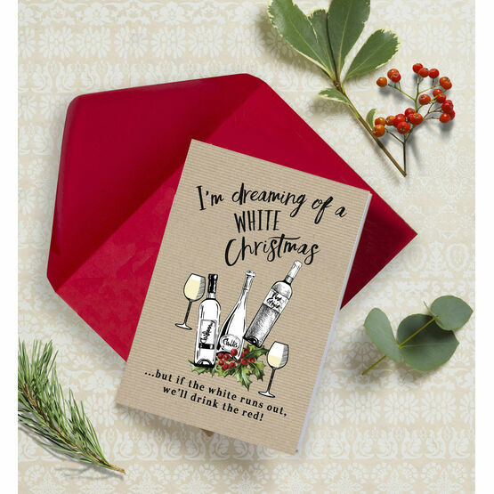 'White Christmas' Non Personalised Wine Themed Christmas Cards - Pack of 10