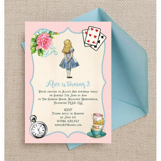Pink blue alice in wonderland birthday party invitation from 080 pink blue alice in wonderland birthday party invitation filmwisefo
