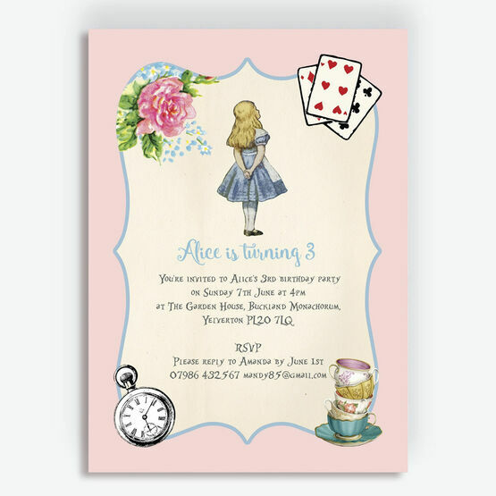 Pink & Blue Alice in Wonderland Birthday Party Invitation