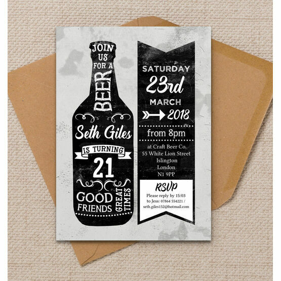 Beer Themed 21st Birthday Party Invitation
