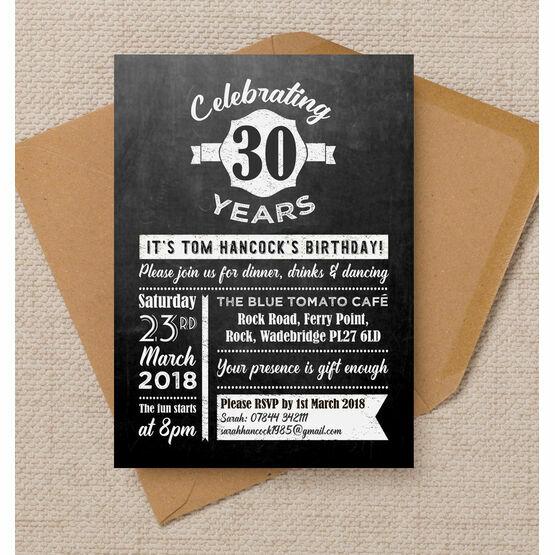 Chalkboard Typography 30th Birthday Party Invitation