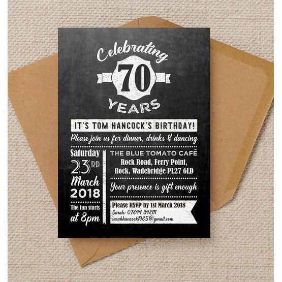 Chalkboard Typography 70th Birthday Party Invitation