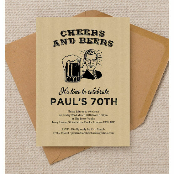 Cheers & Beers' Retro 70th Birthday Party Invitation