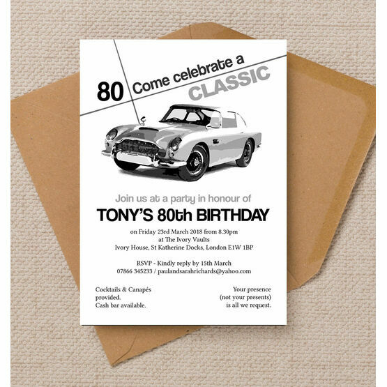 Stylish Classic Car 80th Birthday Party Invitation