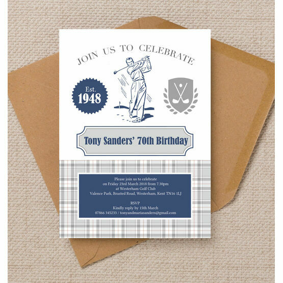 Golf Themed 70th Birthday Party Invitation