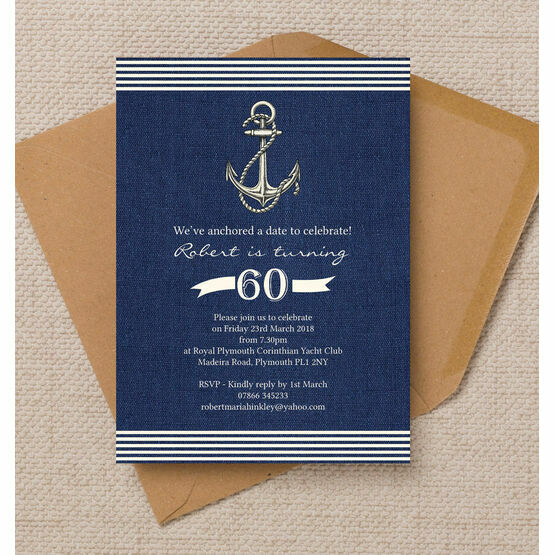 Nautical / Sailing Themed 60th Birthday Party Invitation