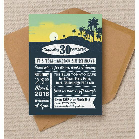 Surf / Hawaiian Themed 30th Birthday Party Invitation
