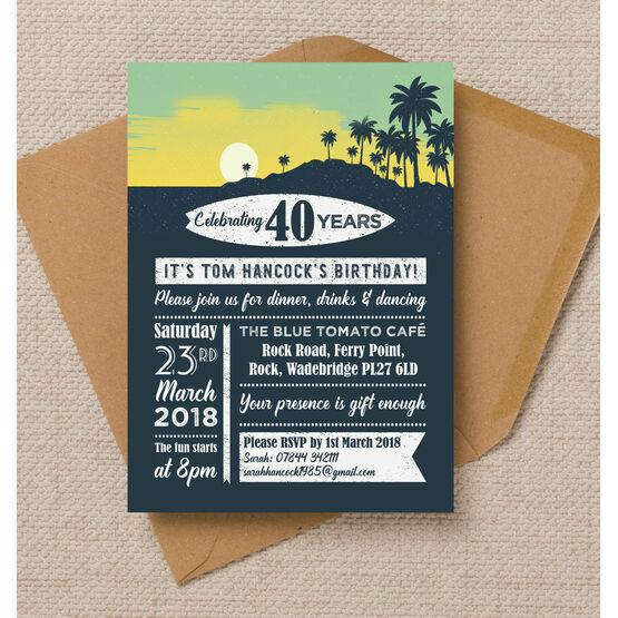 Surf / Hawaiian Themed 40th Birthday Party Invitation