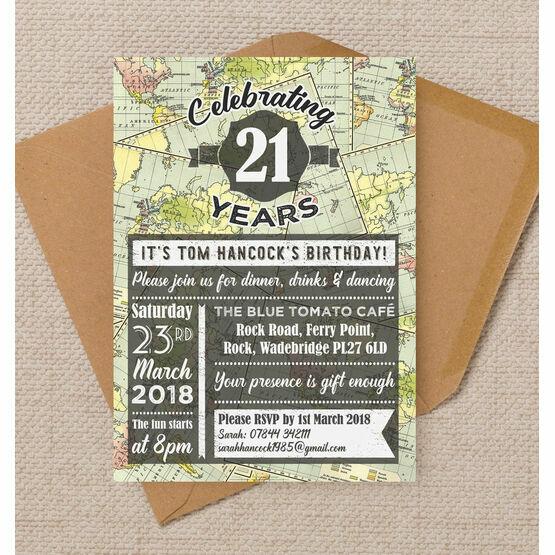 Travel / World Map Themed 21st Birthday Party Invitation