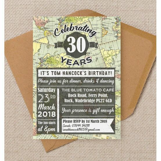 Travel / World Map Themed 30th Birthday Party Invitation